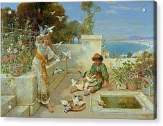 Children By The Mediterranean  Acrylic Print by William Stephen Coleman