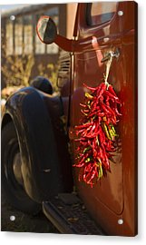 Chile Hang From The Door Of An Old Acrylic Print by Ralph Lee Hopkins