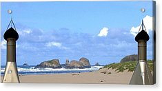 Chimneys Of Cannon Beach Acrylic Print by Will Borden