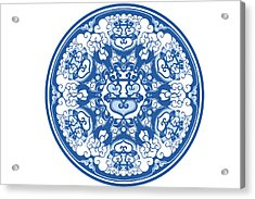 Chinese Traditional Blue And White Porcelain Style Pattern Acrylic Print by BJI Blue Jean Images