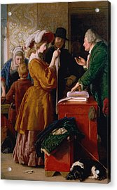 Choosing The Wedding Gown From Chapter 1 Of 'the Vicar Of Wakefield' Acrylic Print by William Mulready