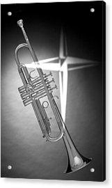 Christian Cross On Trumpet Acrylic Print by M K  Miller