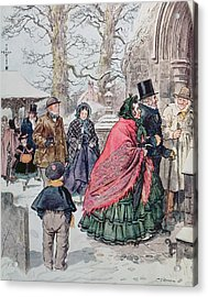 Christmas At Dreamthorpe Acrylic Print by Charles Edmund Brock