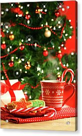 Christmas Cookies  Near The  Tree  Acrylic Print by Sandra Cunningham