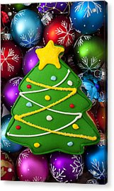 Christmas Tree Cookie With Ornaments Acrylic Print by Garry Gay
