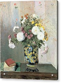 Chrysanthemums In A Chinese Vase Acrylic Print by Camille Pissarro