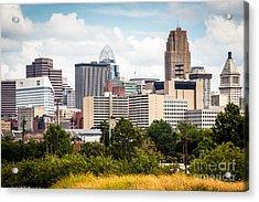 Cincinnati Skyline Downtown City Buildings Acrylic Print by Paul Velgos