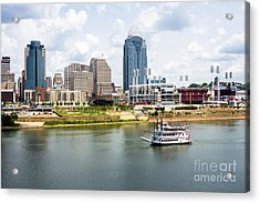 Cincinnati Skyline With Riverboat Photo Acrylic Print by Paul Velgos