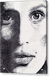 Cindy Crawford Pen And Ink Portrait Acrylic Print by Rom Galicia