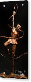 Citius Altius Fortius Olympic Art Gymnast Over Black Acrylic Print by Adam Long