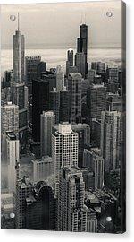 City At Dusk In Monotone Acrylic Print by Sheryl Thomas
