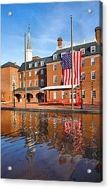 City Hall And Reflections II Acrylic Print by Steven Ainsworth