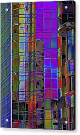 City Windows Abstract Pop Art Colors Acrylic Print by Phyllis Denton