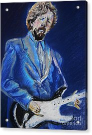 Clapton Jams Blue Acrylic Print by Emily Michaud
