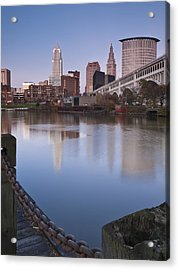 Cleveland From The River - Portrait Acrylic Print by At Lands End Photography