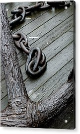 Close Up Of A Large Anchor And Chain Acrylic Print by Todd Gipstein