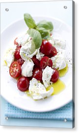 Close Up Of Plate Of Tomatoes And Cheese Acrylic Print by Brigitte Sporrer