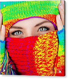 Close Up On Covered Face With Blue Eyes Acrylic Print by Anna Om