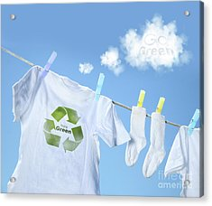 Clothes Drying On Clothesline With Go Green Sign  Acrylic Print by Sandra Cunningham