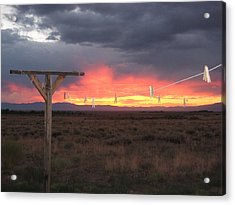 Clothesline Sunset Acrylic Print by Sharon Farris