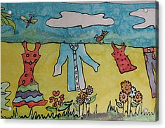 Clothesline Acrylic Print by Yvonne Feavearyear