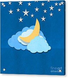Cloud Moon And Stars Design Acrylic Print by Setsiri Silapasuwanchai