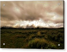 Clouds Over The Tetons Acrylic Print by Ellen Heaverlo