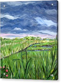 Cloudy Marsh Acrylic Print by Clara Sue Beym