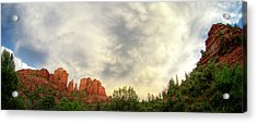 Cloudy Skies Over Cathedral Rock Acrylic Print by David Sunfellow