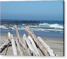 Coastal Driftwood Art Prints Blue Sky Ocean Waves Acrylic Print by Baslee Troutman