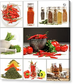 Collage Of Different Colorful Spices For Seasoning Acrylic Print by Sandra Cunningham