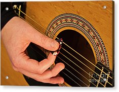 Color Guitar Picking Acrylic Print by Michael Waters