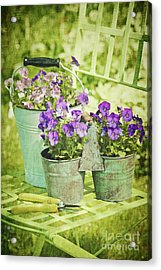 Colorful Spring Flowers On Garden Chair Acrylic Print by Sandra Cunningham