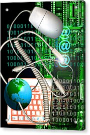 Computer Artwork Of Internet Communication Acrylic Print by Victor Habbick Visions