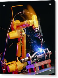 Computer-controlled Arc-welding Robot Acrylic Print by David Parker, 600 Group Fanuc