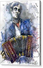Concertina Player Acrylic Print by Yuriy  Shevchuk