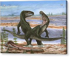 Confrontation Between Two Prehistoric Acrylic Print by Sergey Krasovskiy