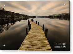 Coniston Water Jetty Acrylic Print by John D Hare