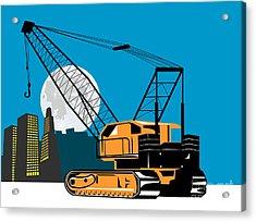Construction Crane Hoist Retro Acrylic Print by Aloysius Patrimonio