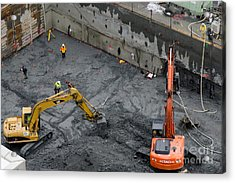 Construction Site Diggers And Workmen In The Foundation Pit Of A New Building Seattle Acrylic Print by Andy Smy