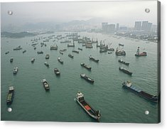 Container Ships In Hong Kong Harbor Acrylic Print by Justin Guariglia