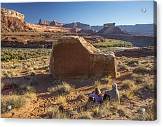 Contemplating The Petroglyphs Acrylic Print by Tim Grams