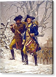 Continental Army Color Guard, Playing Acrylic Print by Everett