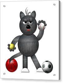Cool Alley Cat Athlete Acrylic Print by Rose Santuci-Sofranko