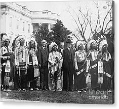 Coolidge With Native Americans Acrylic Print by Photo Researchers