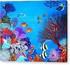 Coral Garden Acrylic Print by Fram Cama