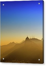 Corcovado Mountain And Christ Redeemer At Sunset Acrylic Print by Antonello