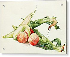 Corn And Peaches Acrylic Print by Pg Reproductions