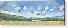 Cornfields Near Brading Acrylic Print by Alan Daysh