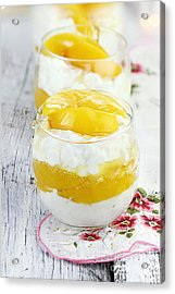 Cottage Cheese And Peaches  Acrylic Print by Stephanie Frey